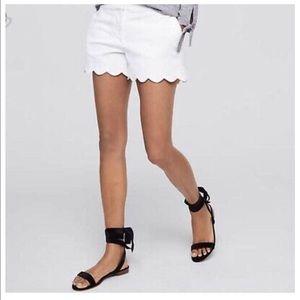 J Crew Women's White Scallop Hem Shorts
